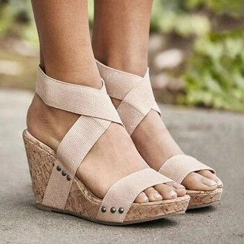 f26ff202 Sandalias de mujer sandalias de plataforma zapatos de tacones altos correa  elástica gladiador Sandalia feminina tacón de cuña de verano sandalias mujer  2019