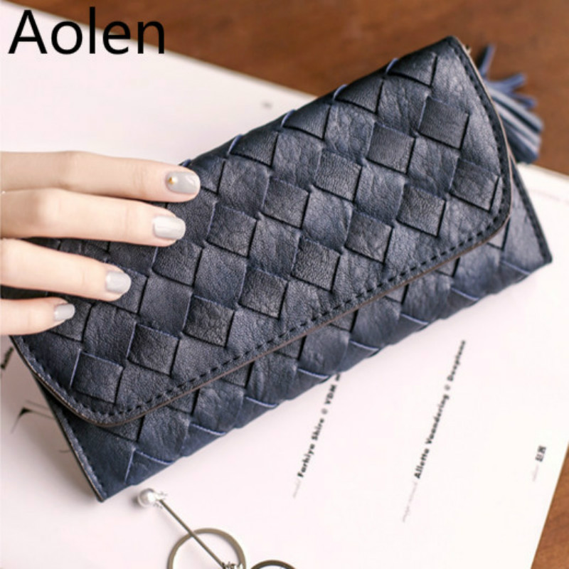 Aolen Purses 2016 Women Wallets Luxury Brand Designer Double Zipper Womens Woman'S Leather Famous Rfid Blocking Purse Fashion