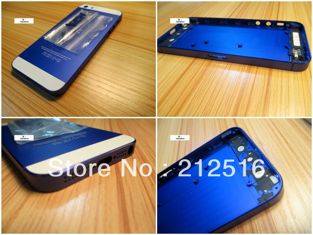 iphone 5 deep blue back housing,colorful metal housing iphone5 best price ! - External Phone Accessories store