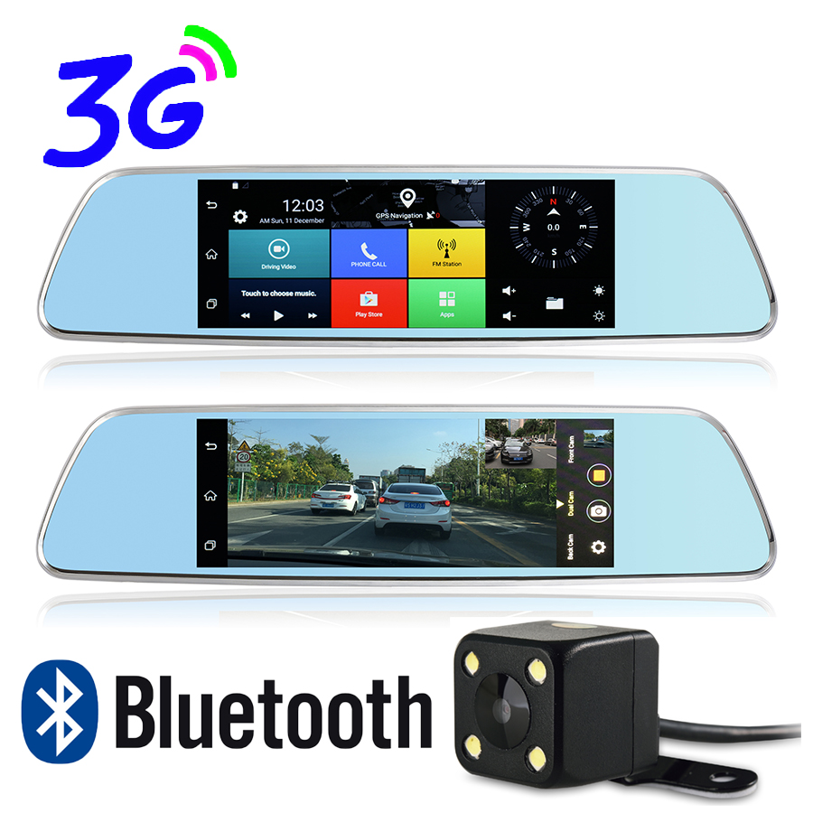7 inch Bluetooth WiFi Android 3G SIM Card Car GPS Navigation Full HD 1080P Dual Lens DVR 1G RAM 16G ROM Rear View Mirror DVR udricare 7 inch 3g wifi mirror gps android 5 0 dvr fhd 1080p bluetooth phone dual lens video recorder rear view camera mirror