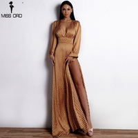 Missord 2018 Women Sexy Spring And Summer Deep V Small Dot Elegant Floor Length Dress FT18443