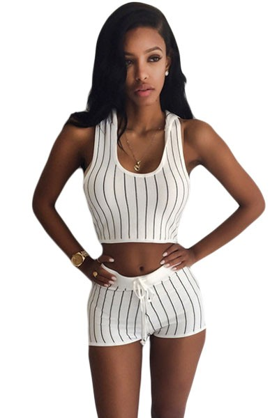 Stripe-Hooded-Crop-Top-and-Short-Set-White-LC62006-1-1