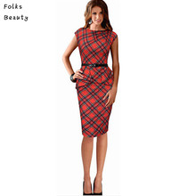 2016 Work Dresses for Women Vintage Elegant Belted Tartan Peplum Ruched Tunic Wear to Work Office Pencil Bodycon Dress
