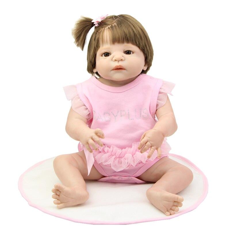 NPK Collection Reborn Baby Dolls Silicone Full Body Vinyl 23 Inch Realistic Newborn Girl Dolls Kids Birthday Xmas Gift