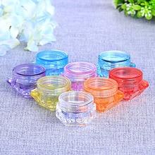 Transparent jar 10 Pcs /set Plastic Cosmetic Box Empty Jar Nail Art Storage Container Cord Round Bottle 5g
