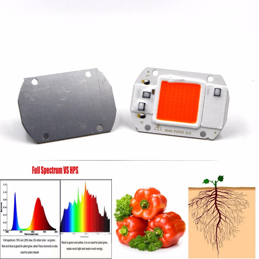 Full Spectrum LED COB Phyto Grow Chip 20W 30W 50W 110V 220V 380-840nm DIY Garden Hydroponic Seedlings Plant Grow Light LED Chip 10pcs cob led grow chip phyto lamp full spectrum 20w 30w 50w led diode grow lights for seedlings indoor diy hydroponics ac 220v
