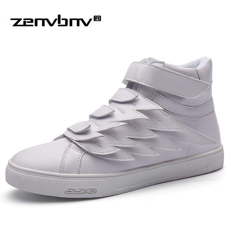 ZENVBNV New 2017 High Quality Men Leather Shoes Fashion High top Men's Casual Shoes Waterproof Man hook$Loop Brand Shoes Black blaibilton 2017 high top quality pu men shoes fashion personality letter platform mens shoes casual designer black blue sd6115