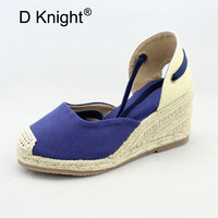 Plus Size 33 40 Espadrilles Wedge Sandals Shoes For Women Summer Canvas High Heels Platform Rope Sandals Fisherman Shoes Woman