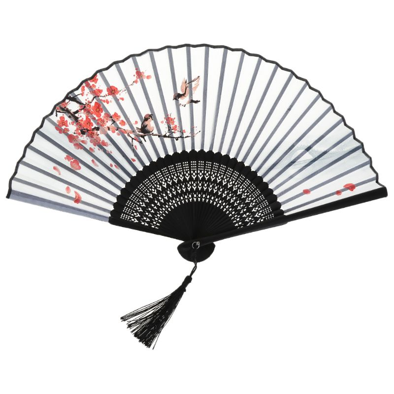 Chinese Japanese Folding Hand Held Fan Plum Blossom Flower Bamboo with Gift Box