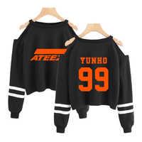ATEEZ kpop Sweatshirt kurze Sweatshirt schulter-off Mode kurze sexy Hüfte Hop kpop Pullover crop hoodies für frauen sexy