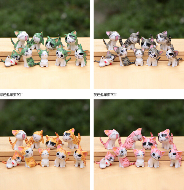 9pcs/lot  Japan Anime Figure Cheese Cat Doll toy figures 9pcs/lot