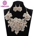 Luxury Gold Flowers Statement Necklace Earrings Set Rhinestone Bridal Jewelry Sets for Women Nigerian Wedding Gift 9 ColorsWC004
