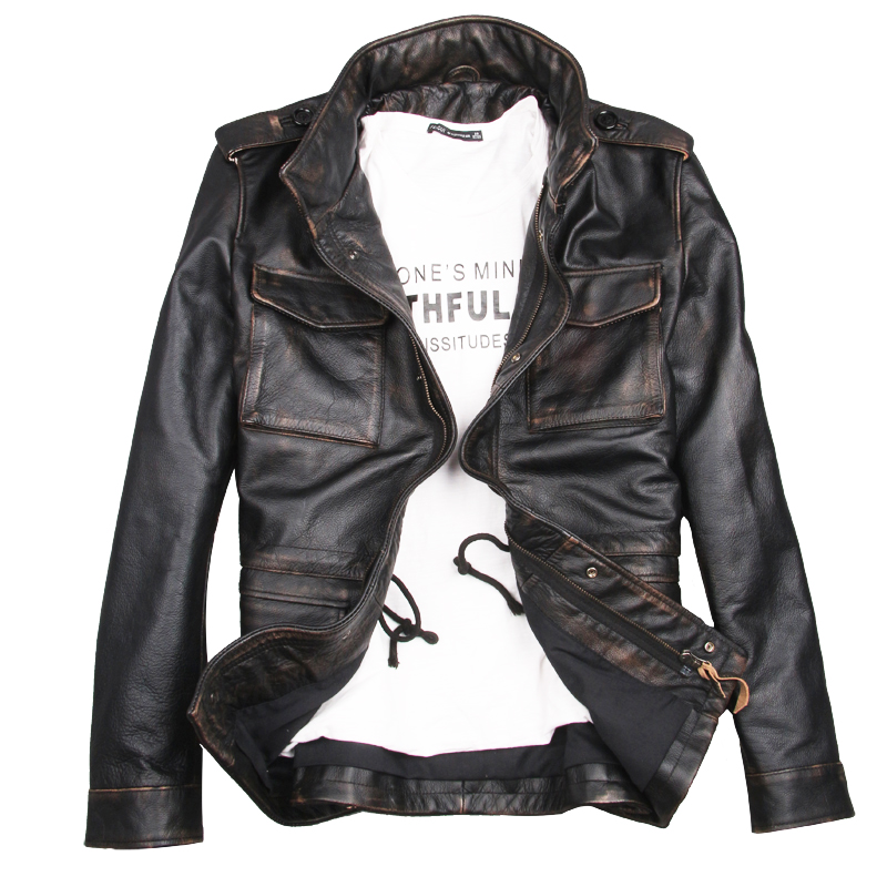 1fad1c48854 Detail Feedback Questions about 2018 Men Vintage Black M65 Military Leather  Jacket Plus Size XXXXL Genuine Thick Cowhide Russian Leather Coat FREE  SHIPPING ...