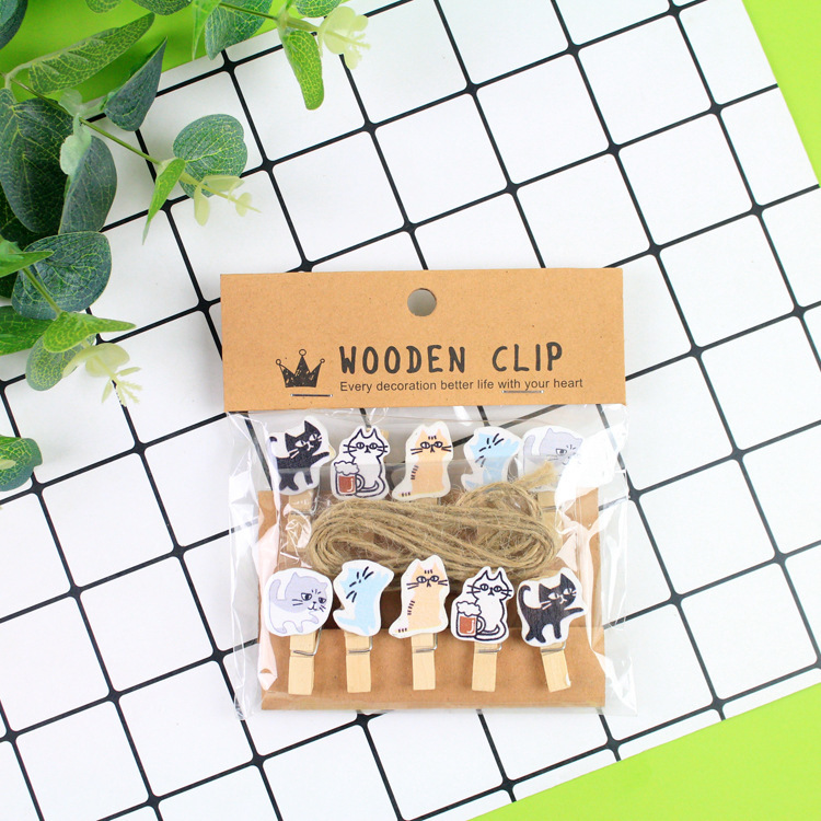 Office Binding Supplies 10 Pcs/lot The Cats Secret Wooden Clip Photo Paper Clothespin Craft Clips Party Decoration Clip With Hemp Rope Refreshing And Enriching The Saliva Clips