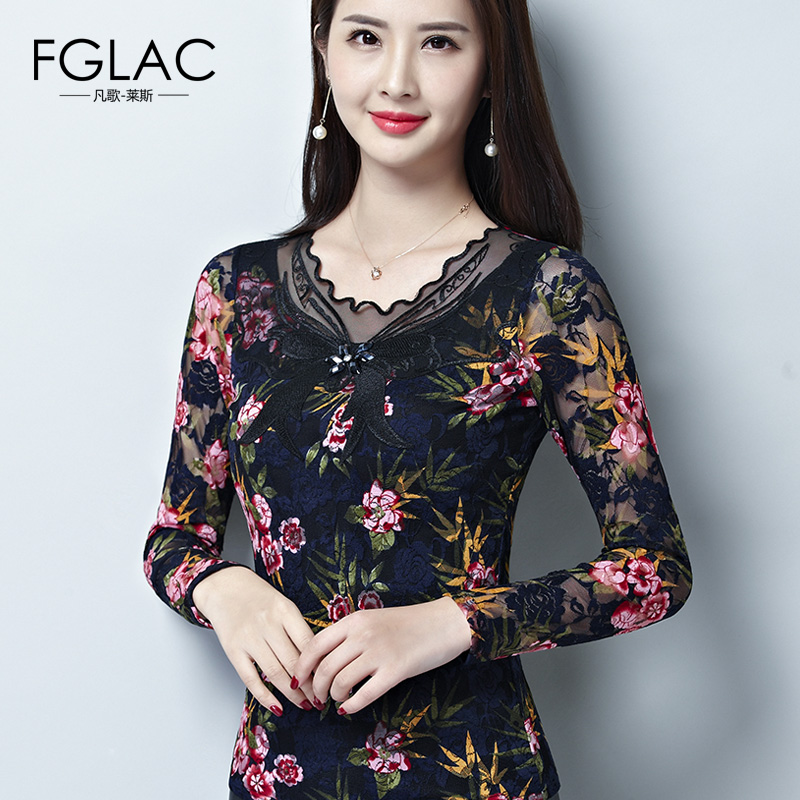 FGLAC Women Autumn   blouse     shirt   Fashion Casual long sleeve Lace tops Elegant Slim hollow out women   blouse   plus size blusas