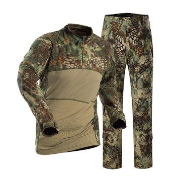 Mandrake Men's Slim Fit Combat Rapid Assault Shirt Tactical Airsoft Camo Long Sleeve Shirts + Pants