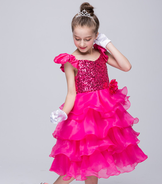 Children Beauty Pageant Birthday S Princess Sequins Dress Toddler Baby Flying Sleeve Hot Pink Wedding