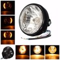 Black 7 Inch Round Amber LED Motorcycle H4 35W Headlight With Turn Signal Indicators For Harley For Honda