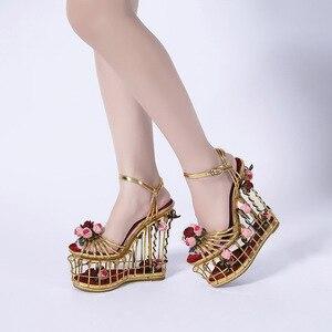 Image 5 - Phoentin Sandalias doradas con flores para mujer, zapatos femeninos de tacón superalto, de plataforma de 16cm, para boda, con correa en el tobillo, hebilla de fiesta, FT337