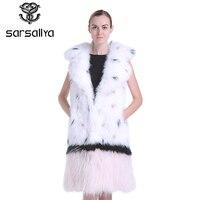 SARSALLYA classic Fashion fox fur vest,Winter real fur vest women,Knitted fur vest women,sell well vest fox