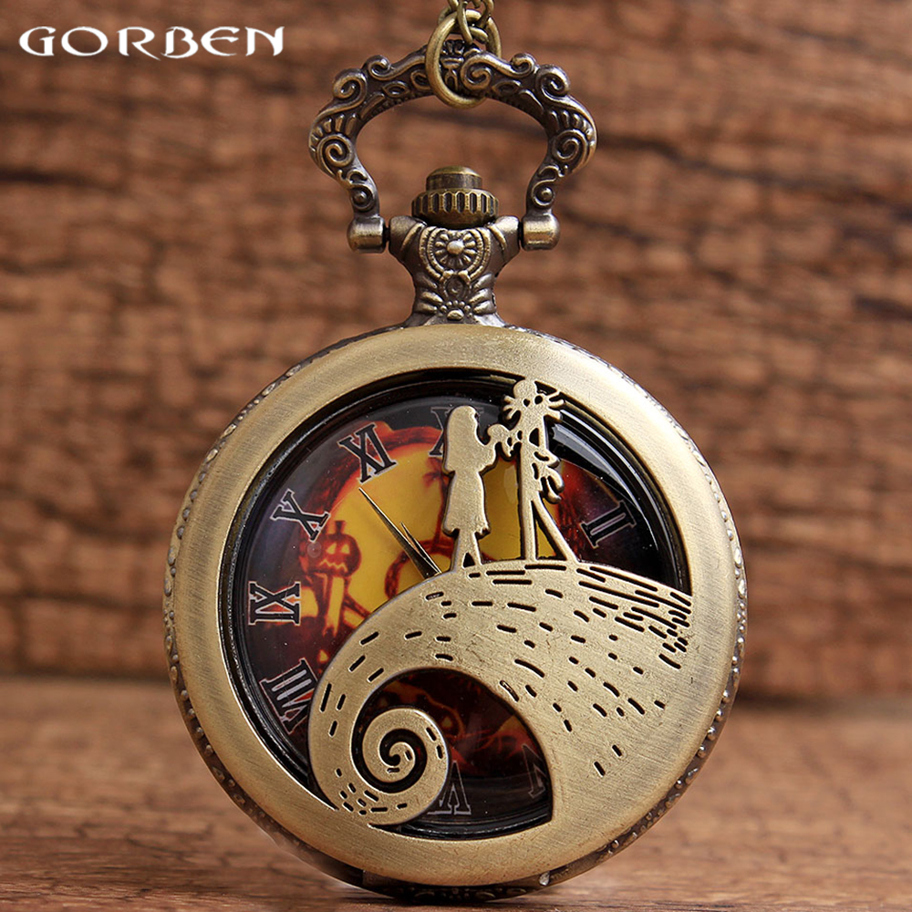 New Antique Hollow Quartz Watch The Nightmare Before Christmas Jack and Sally Pocket Watches For Men Women Gifts Chain Necklace european and american movies aladdin and the magic lamp quartz pocket watch do the old flip quartz watch chain table ds274