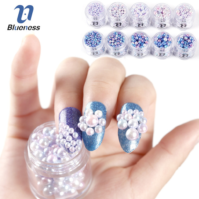Blueness 1 Box Mix Sizes Nail Art Beauty Colorful Pearl Acrylic Nails Decorations Charms Accessories