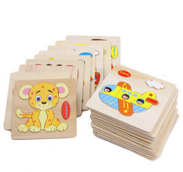 23 style HOT Wooden Kids Jigsaw toys for Children Education and Learning 3D animal puzzle toy gift 3pcs/ a lot