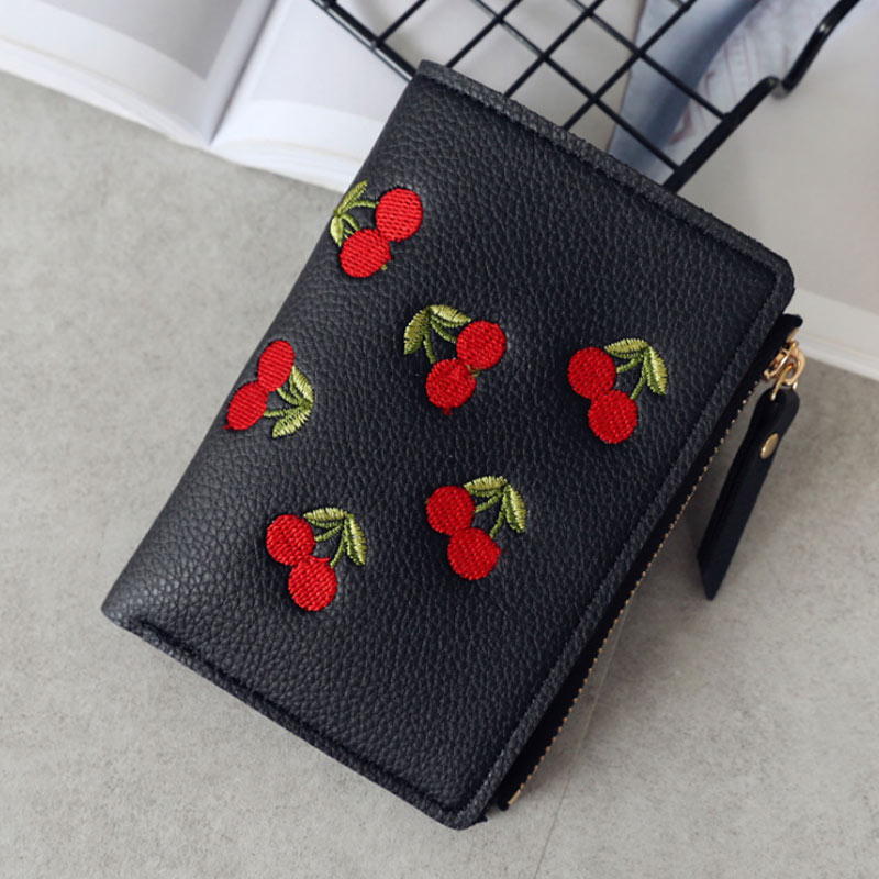 Fashion Lady Girl Cute Mini Money Bag Women Cherry Embroidery PU Leather Short Wallet Coin Purse Card Holders Popular  AB@W3