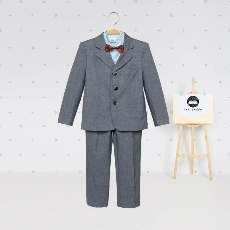 Baby boy clothes blazers tuexdo terno gentleman kids clothing set wedding coat shirt vest pants formal suit children costume hot
