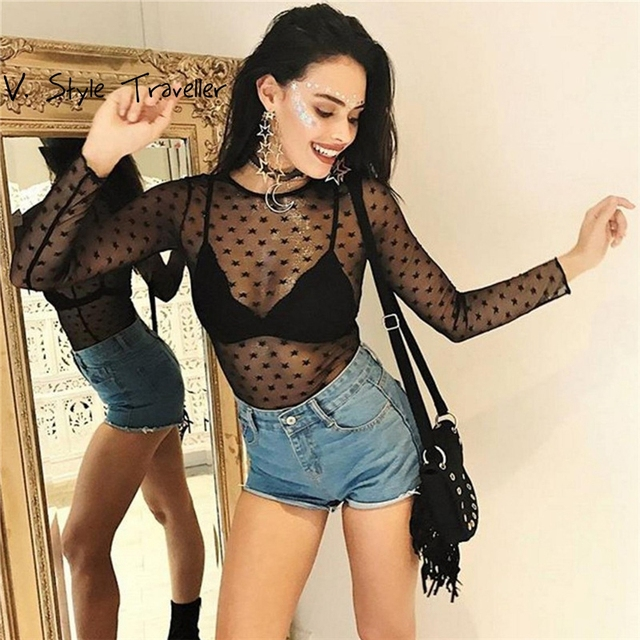 0e0f4e79bc Black Sheer Sexy Voile Bodysuit Women Shorts Jumpsuit Music Festival Cheap  Clothes China Female Mesh Bodycon Skinny Playsuit New