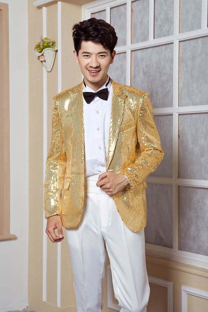 Hot Sale 2018 Men\'s High grade Sequins Blazer Dress the host stage ...