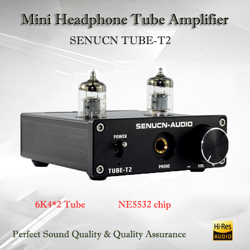 SENUCN TUBE-T2 Portable Vacuum Tube Amplifier Audio Mini Preamplifier NE5532 Hifi Headphone Tube Amplifier Preamp Tube Amp k guss a1 mini 6j1 audio tube bile headphone amplifier ne5532 6k4 headphone amp