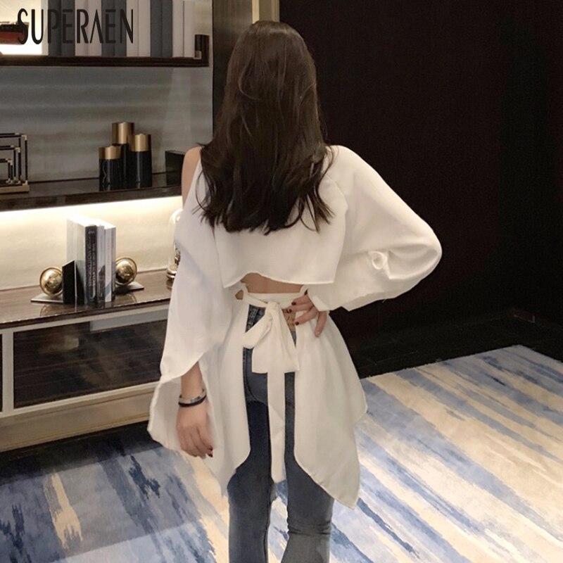 SuperAen Korean Style Women   Shirt   Wild Cotton Temperament Off Shoulder   Blouses   and Tops Female Summer New 2019 Women Clothing