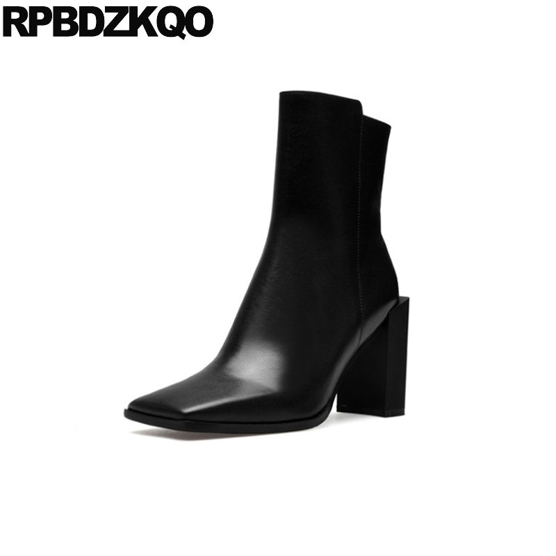 Black Luxury Brand Shoes Women Boots White Fall Strange Mid Calf Genuine Leather High Heel Square Toe Waterproof Zipper Short spring black coffee genuine leather boots women sexy shoes western round toe zipper mid calf soft heel 3cm solid size 36 39 38