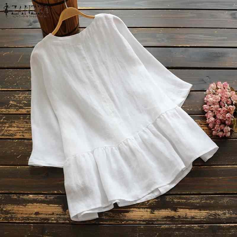 2019 ZANZEA однотонная блузка для вечеринок женские хлопковые льняные рубашки с рюшами Летние повседневные 3/4 рукав свободная Туника Топы Женская сорочка Blusas