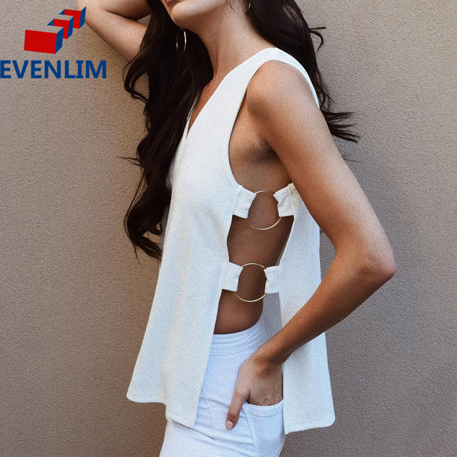 d76ae7611f4103 EVENLIM Women T-shirts V-neck White Hollow out Side Open Split off Shoulder  Vest Sexy Top slit Sleeveless Tees Blusas DRT1803