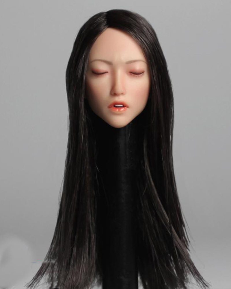 """1//6th SUPER DUCK SDH009 Asian Girl Closed Eyes Head Carved F 12/"""" Figure Doll"""