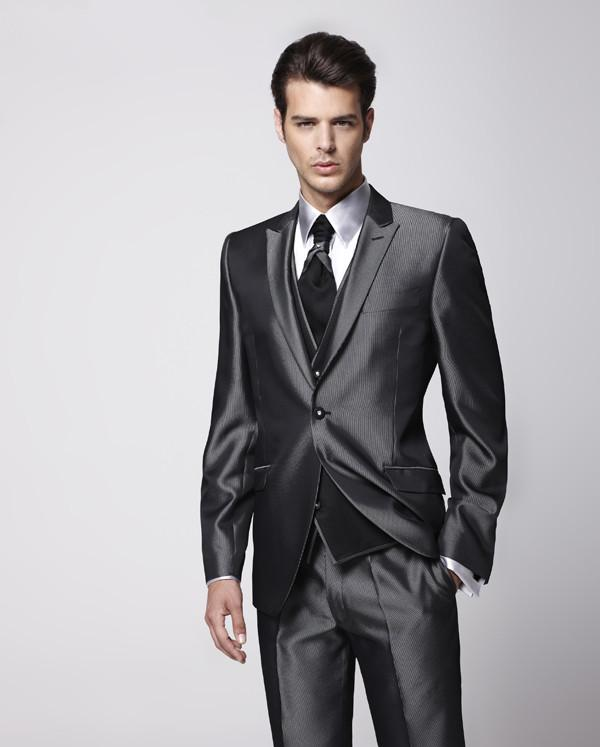 New Arrival Groom Tuxedo Shiny Grey Groomsmen Peak Lapel Wedding/Dinner Suits Best Man Bridegroom (Jacket+Pants+Tie+Vest)B373