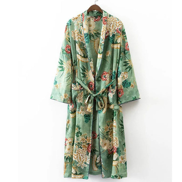 X192 women vintage floral print green color long design jacket kimono outwear ladies summer double pockets with belt jackets top