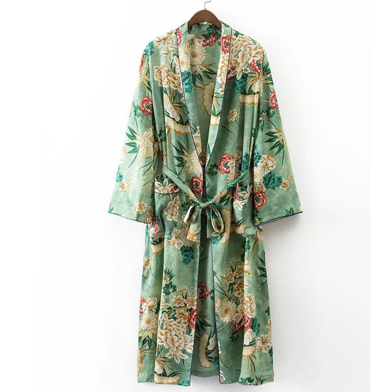 X192 women vintage floral print green color long design jacket kimono outwear ladies summer double pockets with belt jackets top(China)
