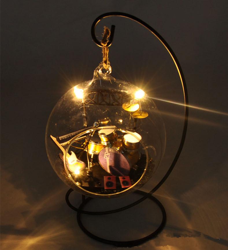 diy mueca muebles mini modelo bola de cristal kits hechos a mano de madera musicales