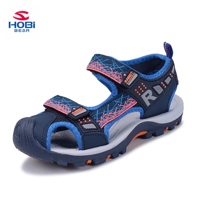 2018 Brand Summer Beach Sandals Kids Sandals boys Leather Summer Shoes kids Casual Sport Sandals For Little Boys Size 26#-37# ...