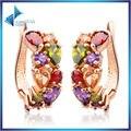 2016 Роскошные Ювелирные Изделия 18 К Настоящее позолоченные Мона Лиза Серьги Стержня Для Женщин С Красочными AAA CZ Кристалл Свадьба подарок