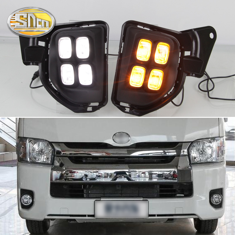 For Toyota Hiace 2016 2017 2018 Yellow Turning Signal Relay Waterproof 12V Car Lamp LED DRL LED Daytime Running Light SNCN