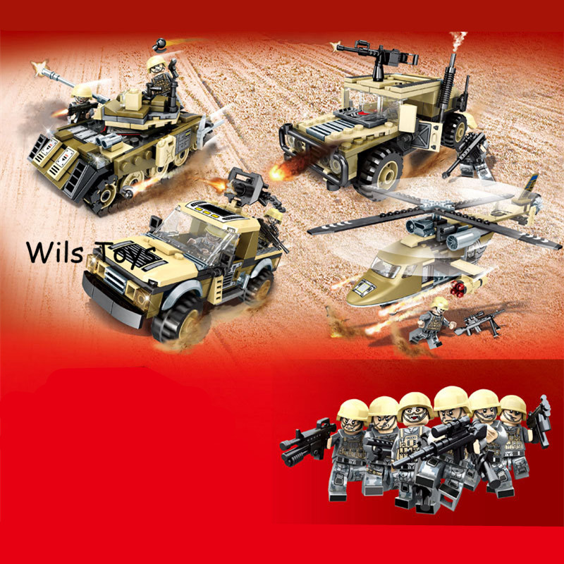 4 In 1 World War 2 Tank Car Helicopter Soldiers Military SWAT Army Model Building Blocks Figures Set Educational Toys Boys Gifts soldiers set military toys model of helicopter tank soldiers the artillery missile toy for boy