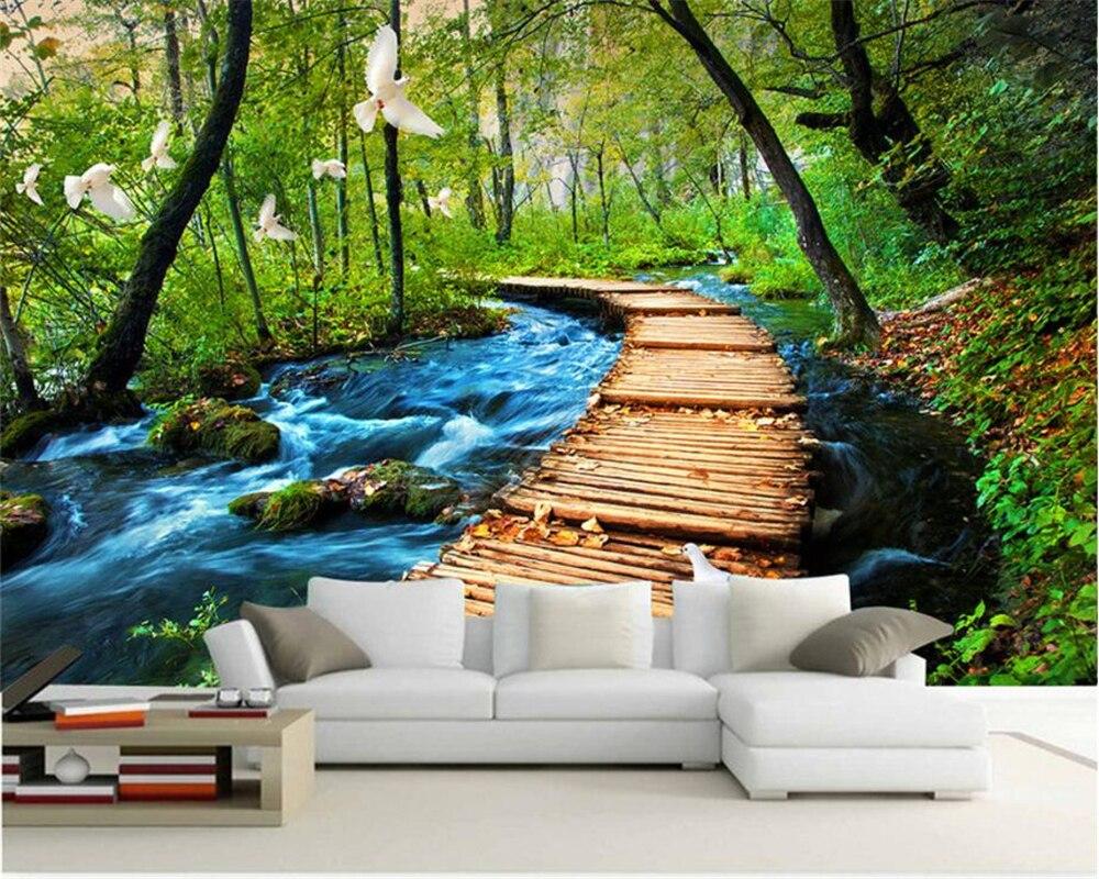 Beibehang 3d Large Wall Mural Wallpaper Hd Bridge At Night: Beibehang Custom Wallpaper Bridge Waterfalls Trees 3D TV