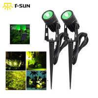 T-SUN impermeable IP65 para jardín exterior, foco LED Solar verde, superbrillo, lámpara de jardín para césped, decoración de paisaje, foco