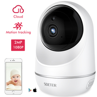 SDETER Wireless 1080P IP Camera WIFI Support YI Cloud Security Camera Pan/Tilt/Zoom IR Night Vision Motion Tracking Baby Monitor