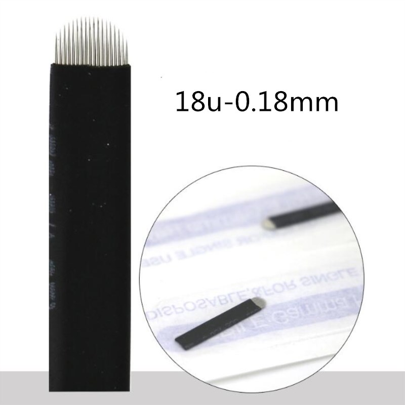 Image 3 - 500 Pcs 0.18mm Flex Nano Laminas Microblading Tebori Agulha 12/14/18 U Shape Needle for Tattoo Eyebrow Microblading Blades Black-in Tattoo Needles from Beauty & Health