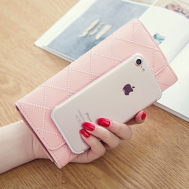 Womens Wallets and Purses Plaid PU Leather Long Wallet Hasp Phone Bag Money Coin Pocket Card Holder Female Wallets Purse